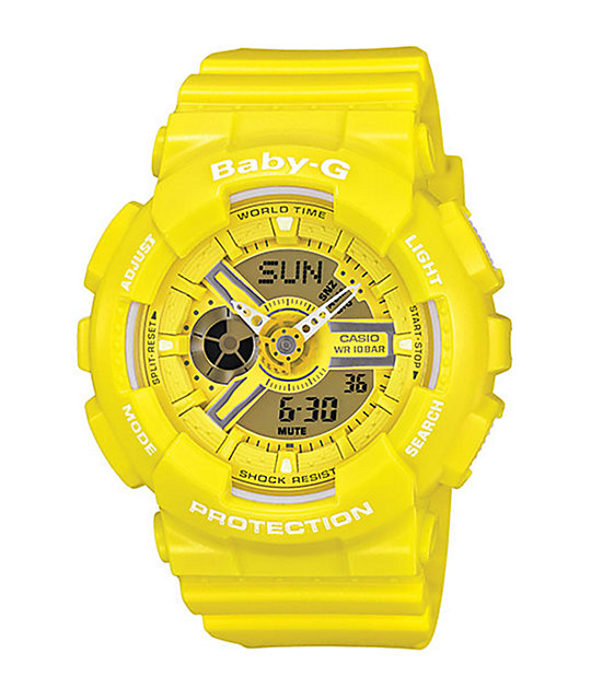 g shock baby g ba110bc 9a yellow watch. Black Bedroom Furniture Sets. Home Design Ideas
