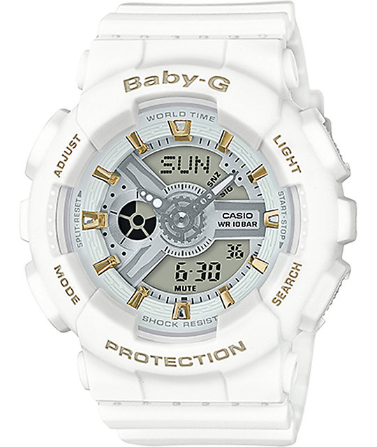 g shock baby g ba110ga 7a1 gold accent white watch. Black Bedroom Furniture Sets. Home Design Ideas