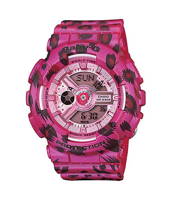 g shock baby g ba110lp 4a leopard print pink watch at. Black Bedroom Furniture Sets. Home Design Ideas