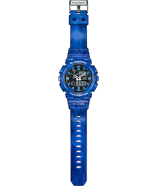 G-Shock G-Lide GAX100MA-2A Blue Marble Analog & Digital Watch