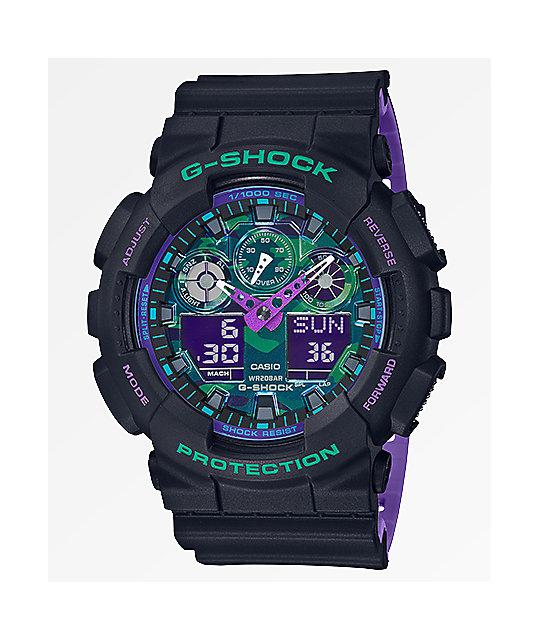 Retro Negro Y shock Reloj Ga100 Sport Analógico G Morado 90's Y6Ib7yfgmv
