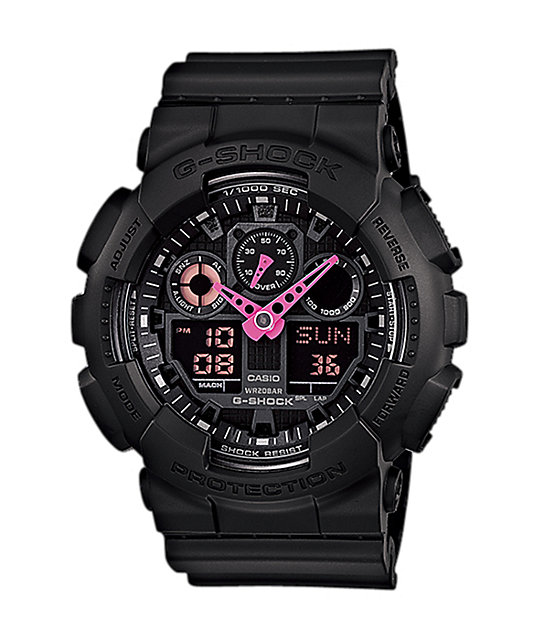G-Shock GA100C-1A4 Black & Neon Pink Digital Chronograph Watch