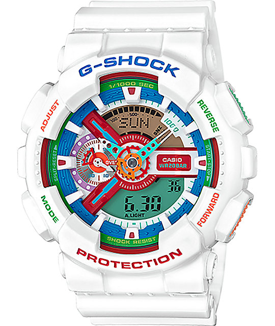 G-Shock GA110MC Rainbow & White Digital & Analog Watch