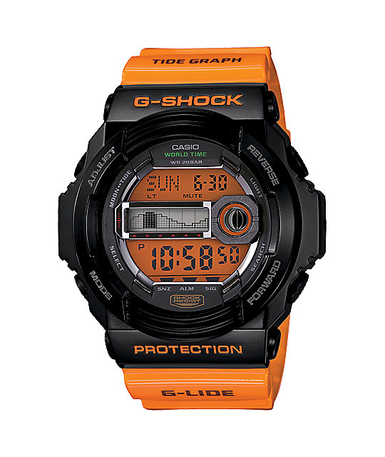 G-Shock GLX150-4 Orange & Black G-LIDE Digital Tide Watch