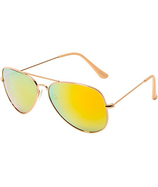 Gafas de sol de aviador en espejo verde