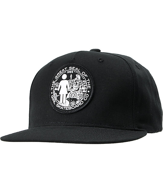 Girl Seal Black Snapback Hat