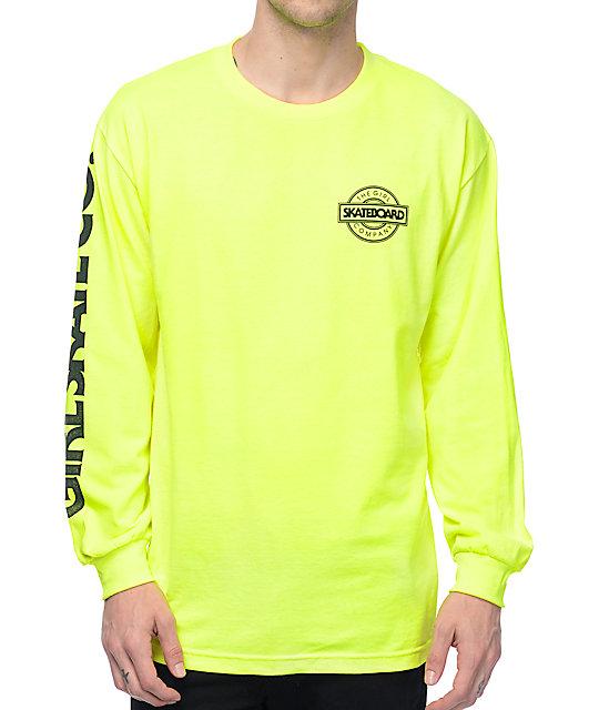 Girl Sunset Long Sleeve Safety Green T-Shirt