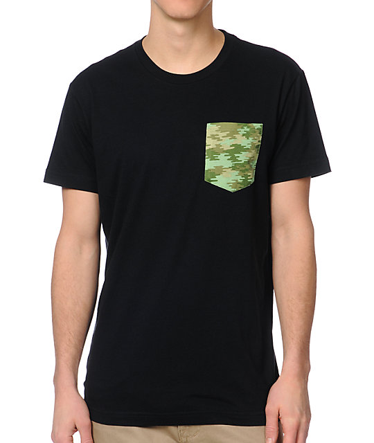 Glamour Kills  Black Camo Pocket T-Shirt