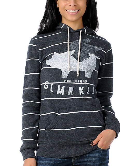 Glamour Kills Against The World Charcoal Stripe Pullover Hoodie
