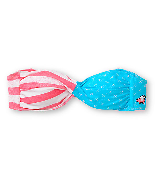 Glamour Kills American Flag Twist Bandeau Bikini Top