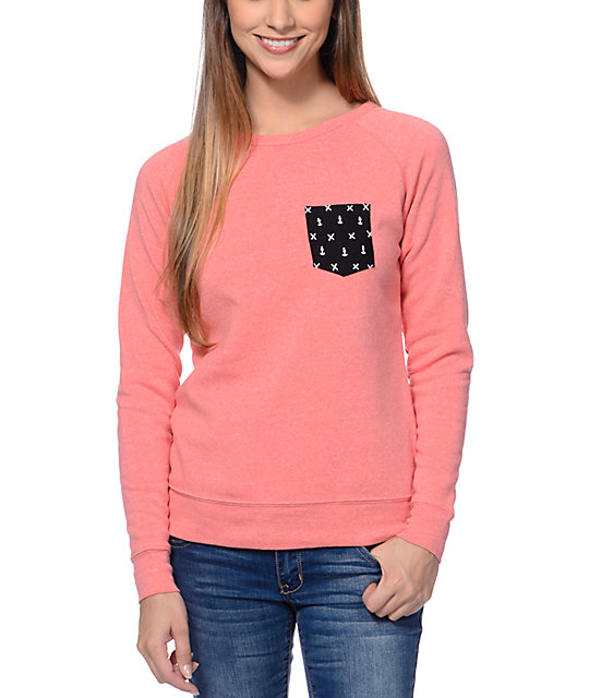 Glamour Kills Anchor Pocket Coral Crew Neck Sweatshirt