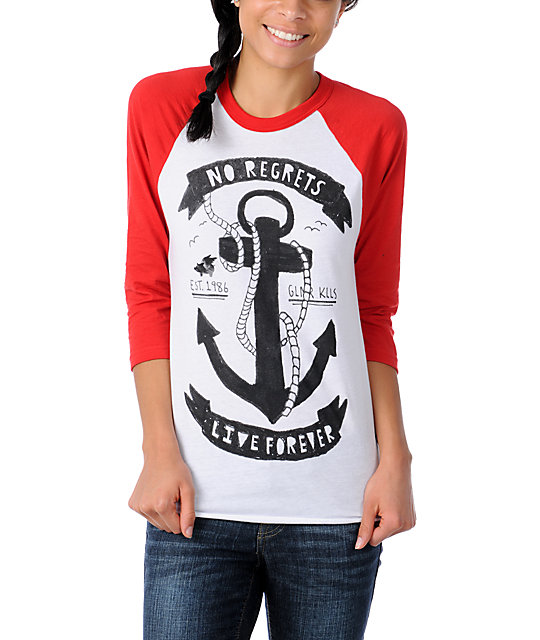 Glamour Kills Anchors Away Red Baseball Tee