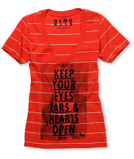 Glamour Kills Attention Notice Red Stripe V-Neck T-Shirt