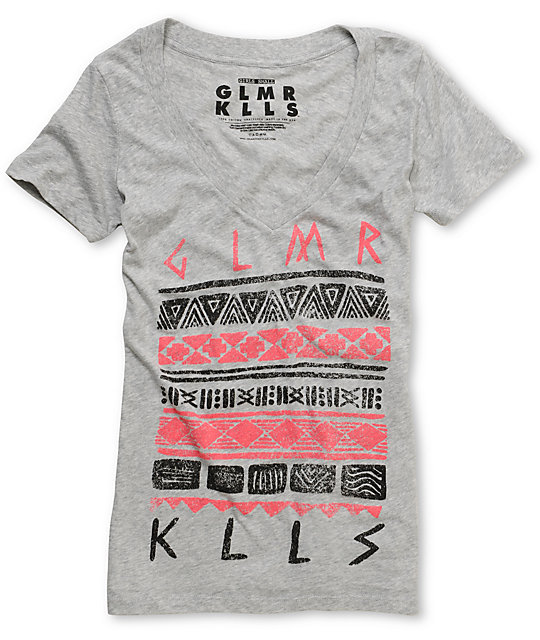 Glamour Kills Aztec Guide Light Heather Grey V-Neck T-Shirt