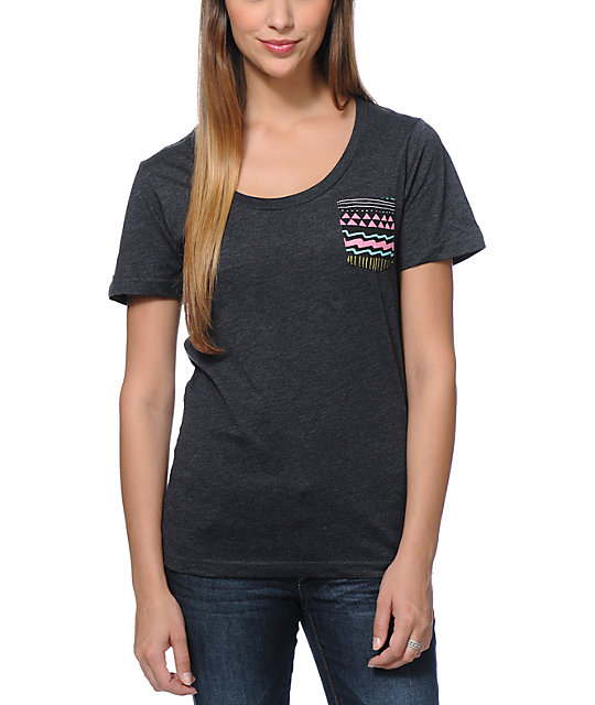 Glamour Kills Aztec Pocket Charcoal T-Shirt