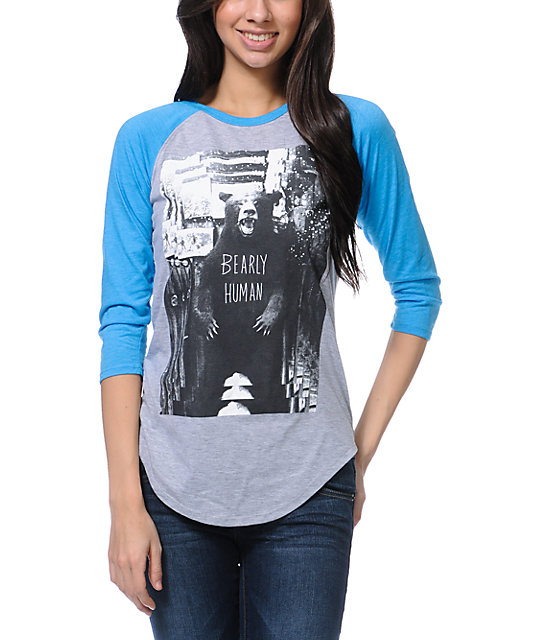 Glamour Kills Bearly Human Grey & Teal Baseball Tee