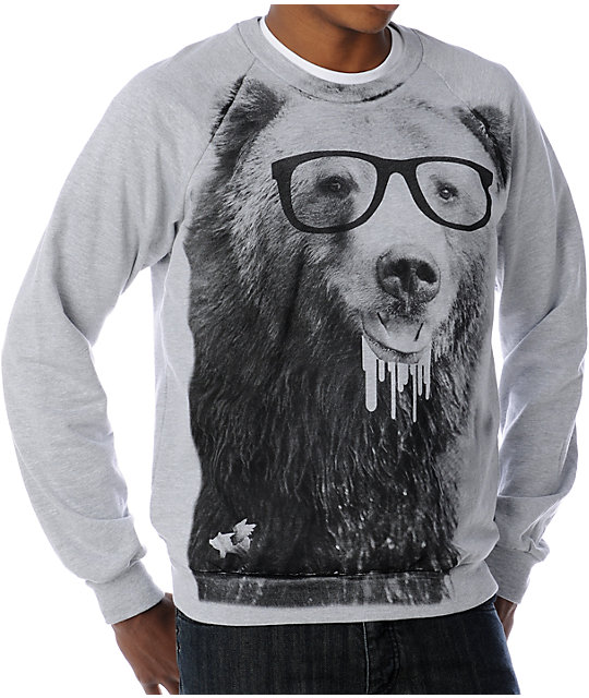 Glamour Kills Bears Gone Heather Grey Crew Neck Sweatshirt