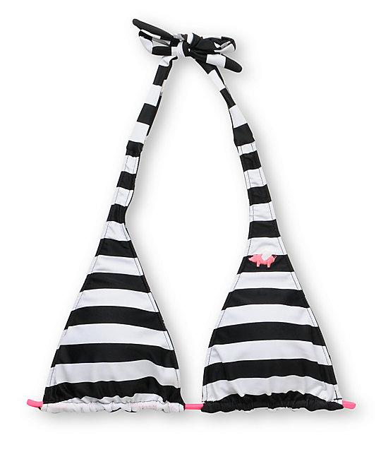 Glamour Kills Black & White Reversible Halter Bikini Top