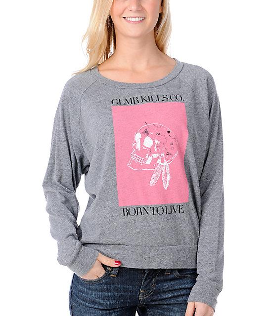 Glamour Kills Born To Live Grey Raglan Top