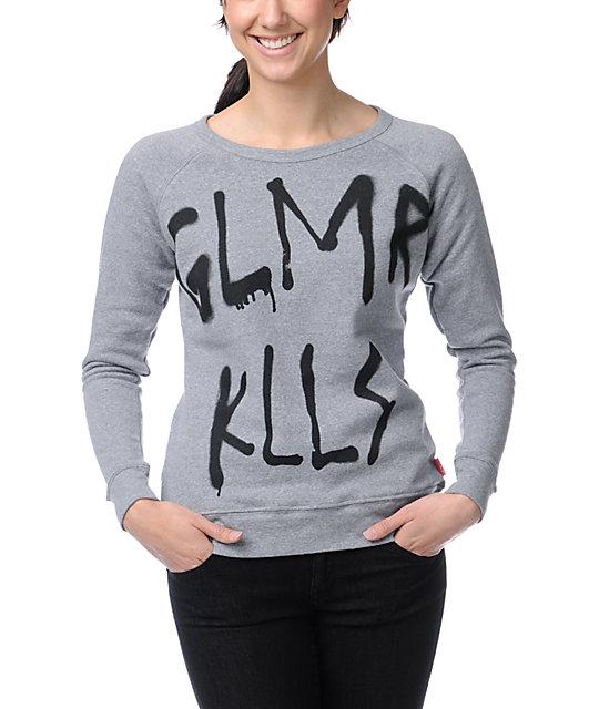 Glamour Kills Bushwicked Heather Grey Crew Neck Sweatshirt