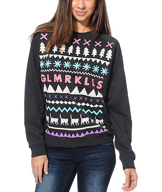 Glamour Kills Buzzs Girlfriends Charcoal Crew Neck Sweatshirt