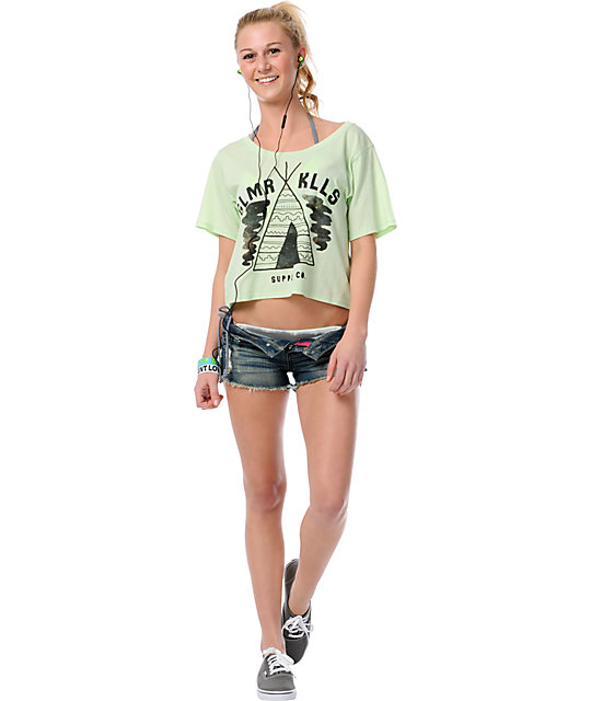 Glamour Kills Camp Supply Lime Green Slouchy T-Shirt