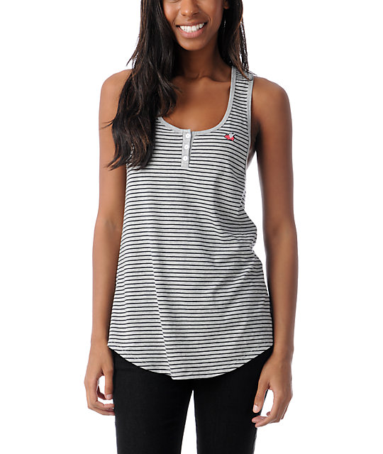 Glamour Kills Composure Grey & Black Stripe Henley Tank Top