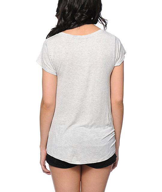 Glamour Kills Cool Runnings Heather White Drape Top