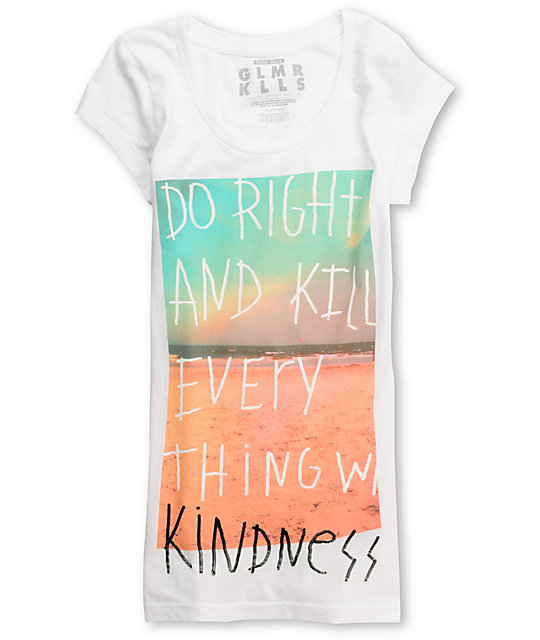Glamour Kills D.R.A.K.E.W.K. White Scoop Neck T-Shirt