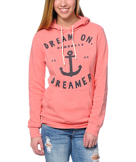 Glamour Kills Dream On Dreamer Coral  Pullover Hoodie