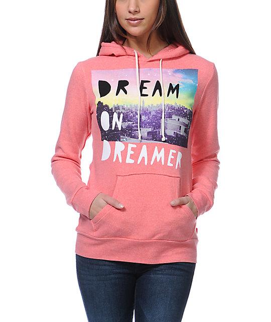 Glamour Kills Dream On Dreamer Skyline Coral Pullover Hoodie