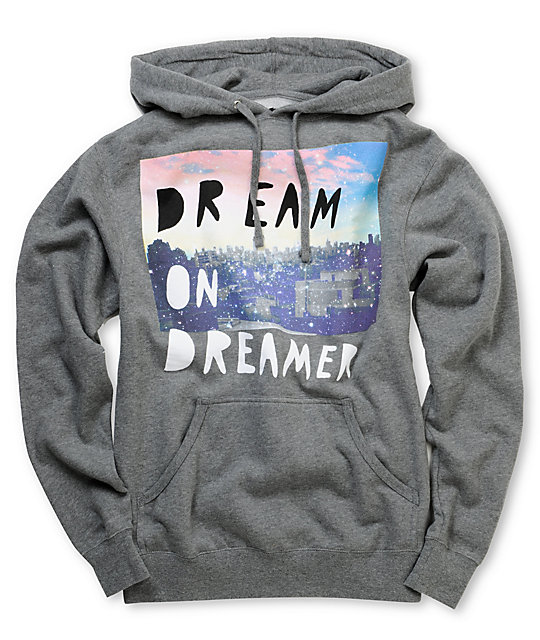 Glamour Kills Dream On Dreamer Skyline Grey Pullover Hoodie