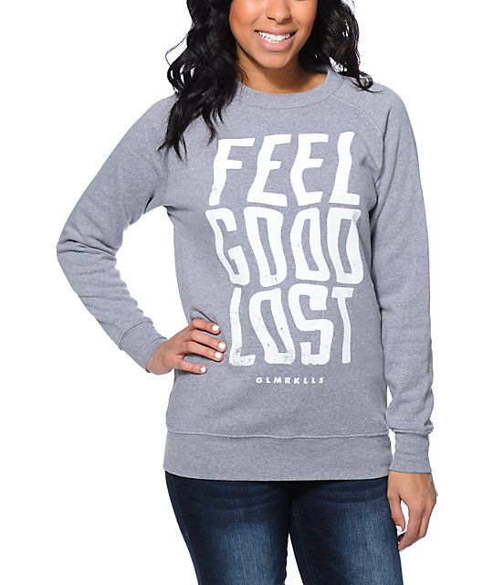 Glamour Kills Feeling Good Grey Crew Neck Sweatshirt