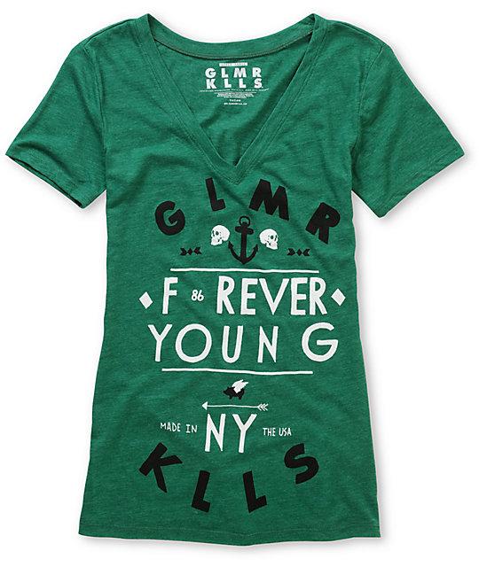Glamour Kills Forever Young Green V-Neck T-Shirt