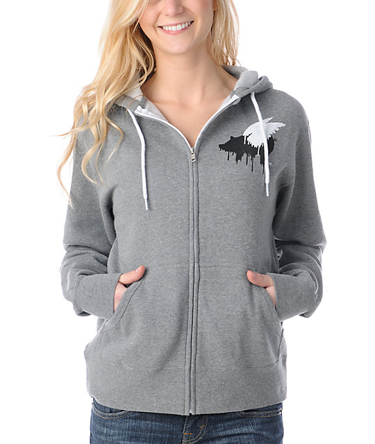 Glamour Kills Forever Young Grey Zip Up Hoodie
