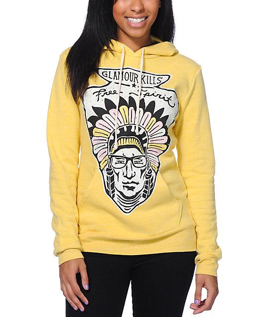 Glamour Kills Free Spirit Yellow Pullover Hoodie