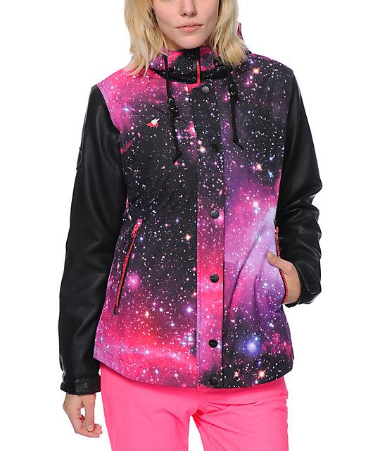 Glamour Kills Freshies Pink Galaxy 10k Snowboard Jacket At