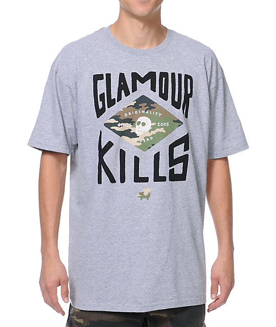 Glamour Kills GK Camo Crest Grey T-Shirt