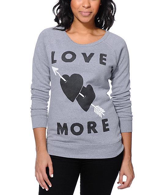 Glamour Kills Heart Shot Grey Crew Neck Sweatshirt