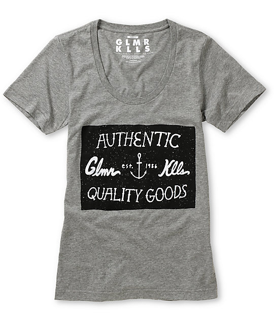 Glamour Kills High Society Grey Scoop Neck T-Shirt