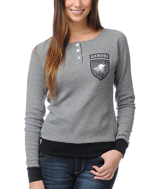 Glamour Kills Join Or Die Grey Thermal Shirt