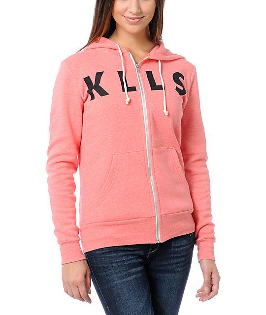 Glamour Kills KLLS Coral Zip Sweatshirt