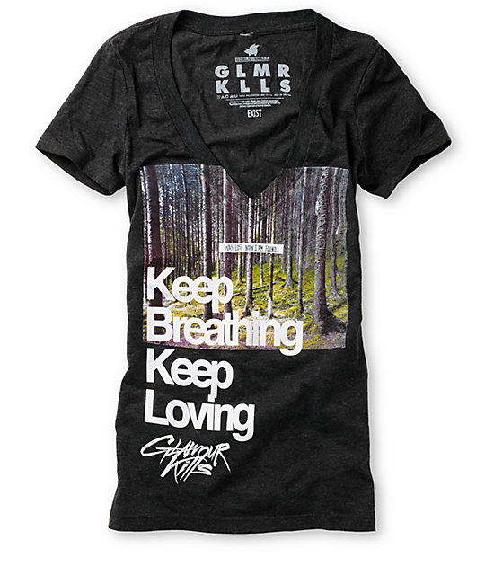 Glamour Kills Keep Breathing Grey T-Shirt