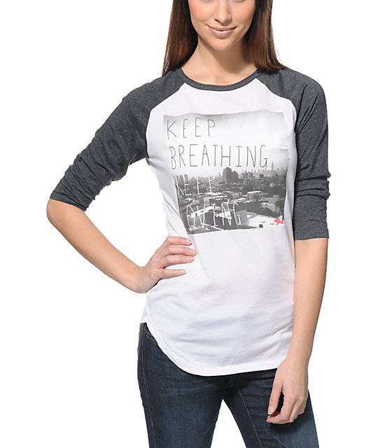 Glamour Kills Keep Breathing White & Charcoal Baseball Tee