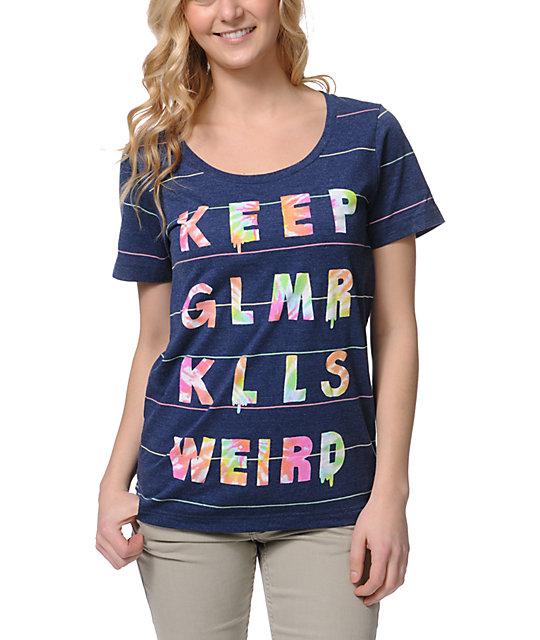 Glamour Kills Keep GLMR KLLS Weird Navy Stripe T-Shirt