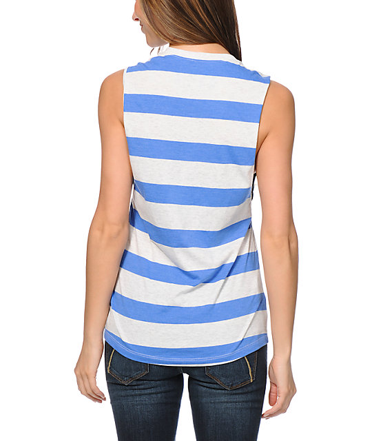 Glamour Kills Land Locked Blue Striped Muscle T-Shirt