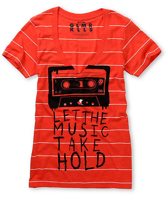 Glamour Kills Let It Take Hold Red V-Neck T-Shirt