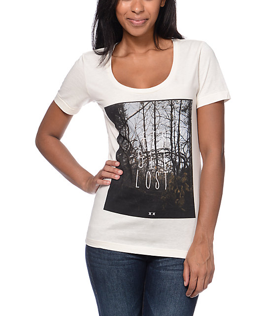 Glamour Kills Lets Get Lost Natural Scoop Neck T-Shirt