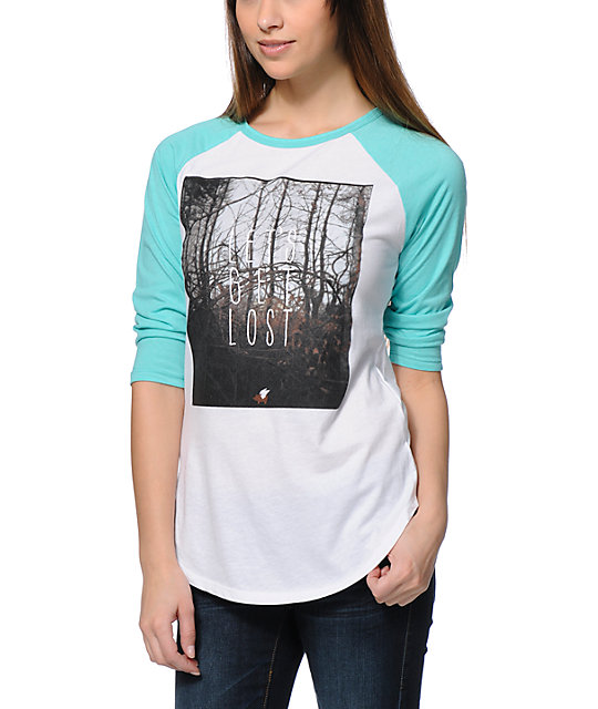Glamour Kills Lets Get Lost White & Mint Baseball Tee