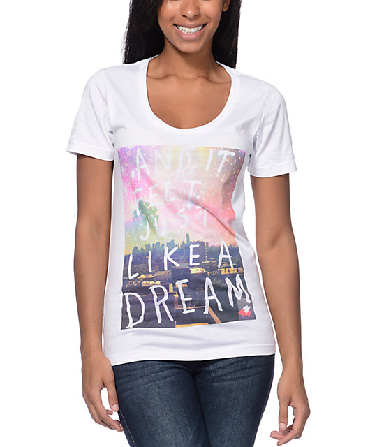 Glamour Kills Like A Dream White Scoop Neck T-Shirt